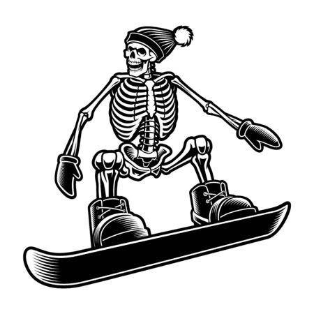 Black and white illustration of a skeleton 일러스트
