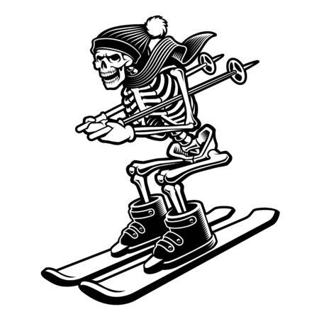 Vector illustration of a skeleton on the skis