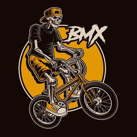 La ilustración con un esqueleto está saltando en bicicleta bmx. Ilustración de vector