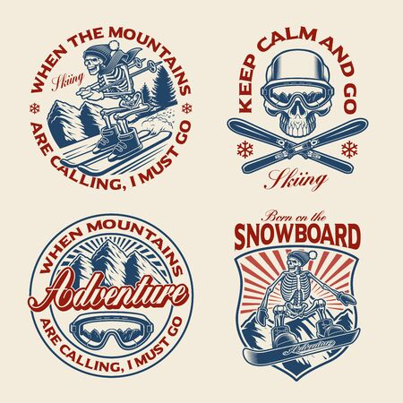Set of winter sport themed illustrations for apparel, logos and many other uses.