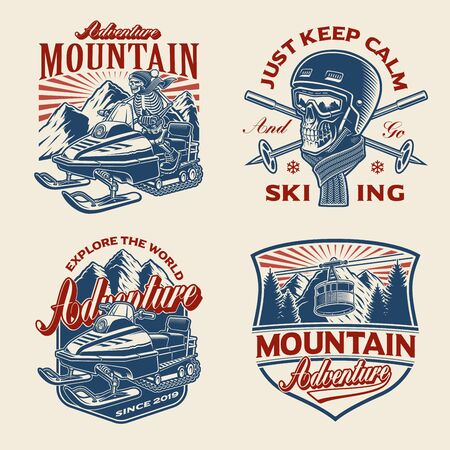 Set of winter-sport themed illustrations for apparel, logos, and many other uses.