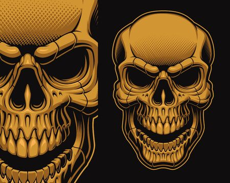 A vector illustration of a skull isolated on the dark background. Designs for apparel, logos, posters, and many other uses.