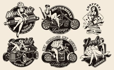 Set of vintage pin-up girls for apparel, logos, posters, and many other uses. 일러스트