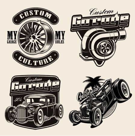 Set of hot-rod themed vector illustrations for logos, apparel, posters, and many other purposes.