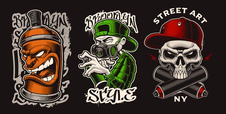 Set of vector illustrations with graffiti characters. Designs for apparel, logos, posters, and many other uses. 일러스트