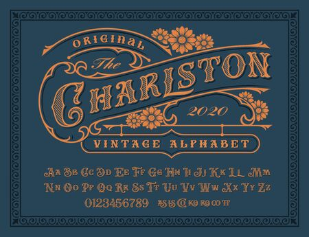 A Vintage alphabet with upper and lower case, numbers, and special ligatures as well. It is perfect for logo and packaging and lablel designs, short phrases, or headlines. Illustration