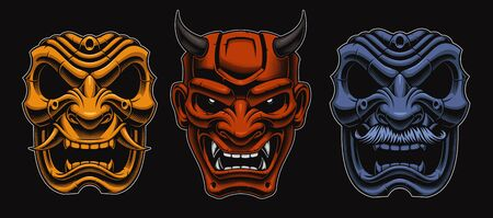 Set of vector Japanese masks of samurais isolated on the dark background. 일러스트
