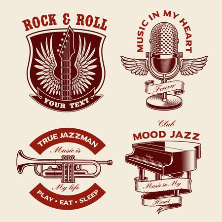 Set of music-themed vector illustrations isolated on the white background. Designs for apparel, logos, posters, and many other uses. Illustration