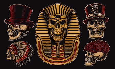 Set of vector skulls with different characters such as an Egyptian pharaoh, an Indian chief and other skulls in hats