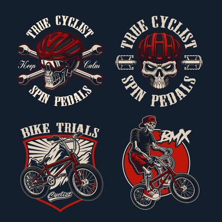 Set of vector bicycle-themed illustrations for apparel, logos, and many other uses.