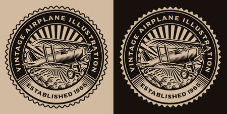 A black and white round emblem with a vintage airplane