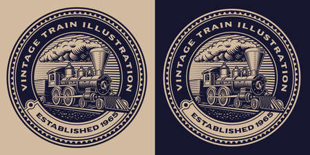 A black and white emblem with a vintage train.