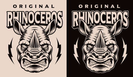 A black and white vector illustration of a rhinoceros head