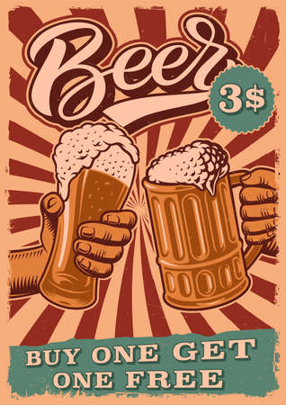 A vintage for beer poster with an illustration of people clinks glasses.