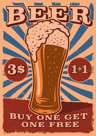 A Vintage Beer Poster With a glass of beer