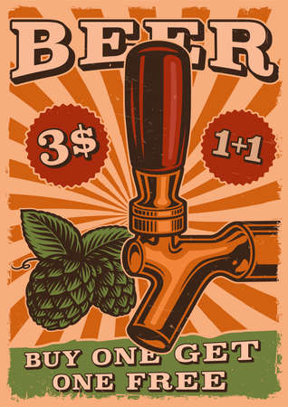 A beer poster with beer tap and hop illustrations