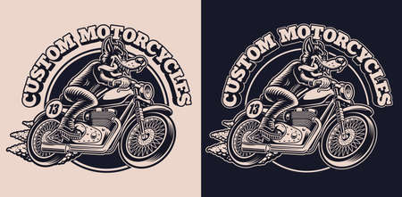 A black and white emblem with a wolf on a motorcycle for a biker theme