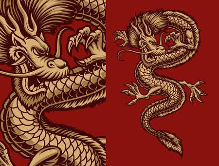 A vector illustration of an Asian dragon 矢量图像