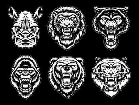 A set of black and white vector animal illustrations 矢量图像