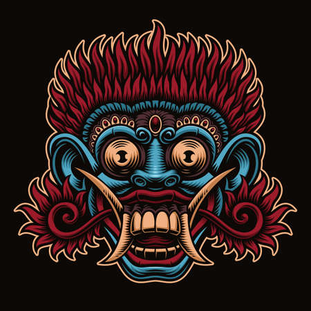 A vector illustration of traditional Indonesian Mask Barong 矢量图像