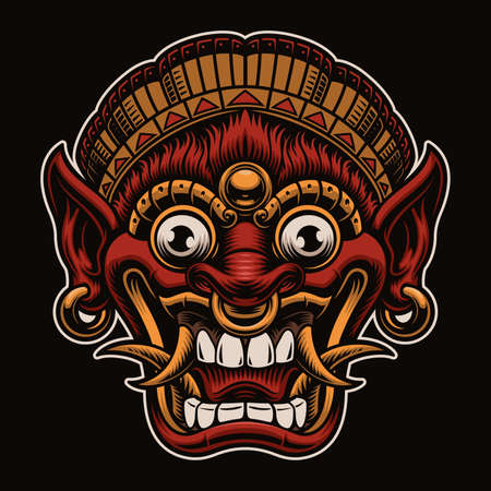 A vector illustration of a traditional Bali Mask