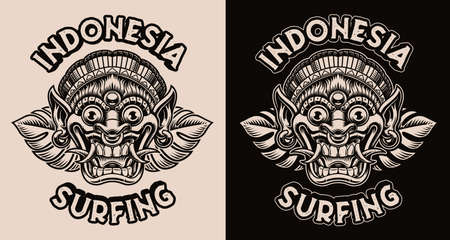 A black and white vector illustration with a traditional Indonesian Mask Barong
