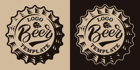 A black and white vintage beer emblem with a beer cap 矢量图像