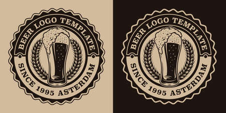A black and white vintage beer emblem with a glass of beer.