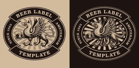 A black and white vintage beer emblem with a griffin is holding a beer mug