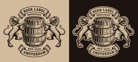 A black and white brewery emblem with a barrel and lions.