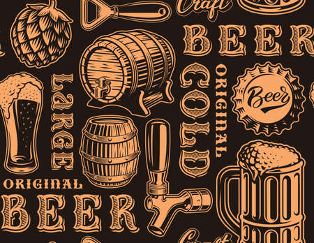 A black and white seamless background for beer theme
