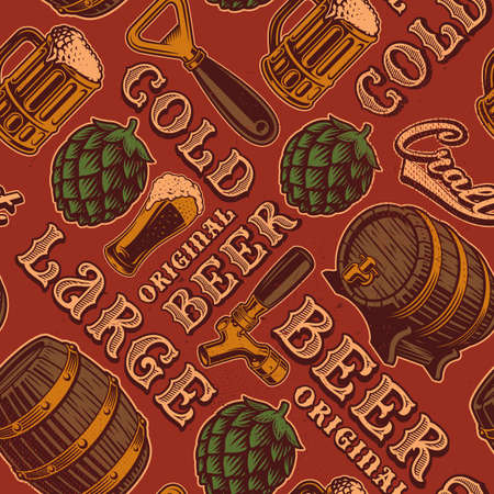 A colorful seamless pattern for beer theme in vintage style.