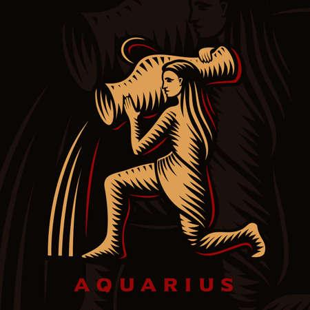 A vector illustration of Aquarius zodiac sign 矢量图像