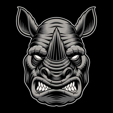 A colorful vector illustration of a rhinoceros head Vecteurs