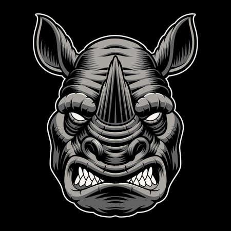 A colorful vector illustration of a rhinoceros head Vektoros illusztráció