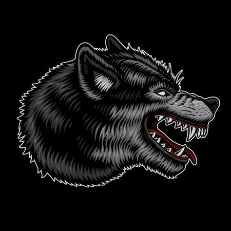 A colorful vector illustration of a wolf