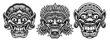 A set of black and white illustrations of traditional Indonesian masks 矢量图像
