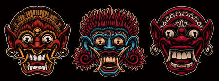 A set of colorful vector illustrations of traditional Indonesian masks