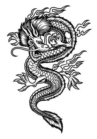 A vector Asian dragon illustration