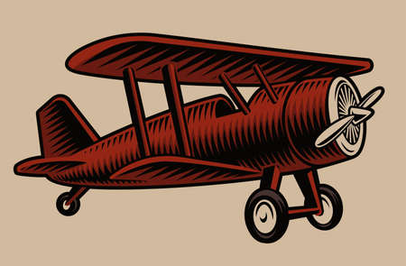 A vector illustration of a vintage airplane