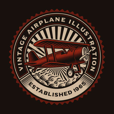 A colorful round emblem with a retro airplane