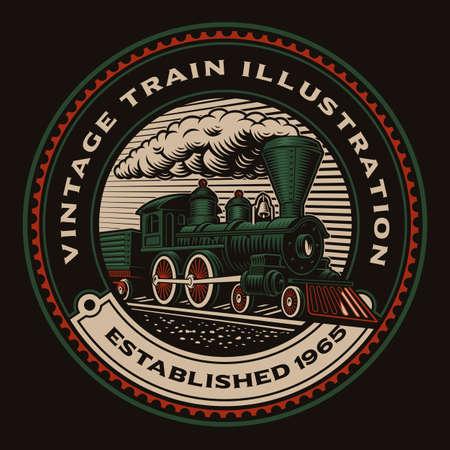 A colorful round emblem with a retro train.