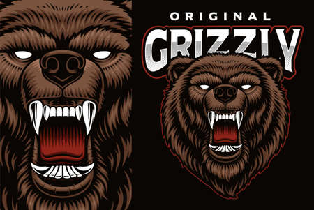 A colorful vector emblem with a grizzly 矢量图像