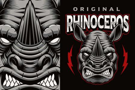 A colorful vector emblem with a rhinoceros 矢量图像