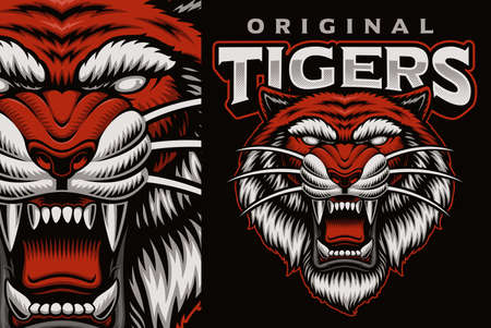 A colorful vector emblem with a roaring tiger