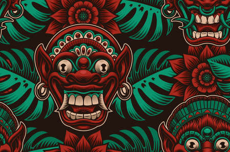 A colorful seamless background with traditional Indonesian masks 矢量图像