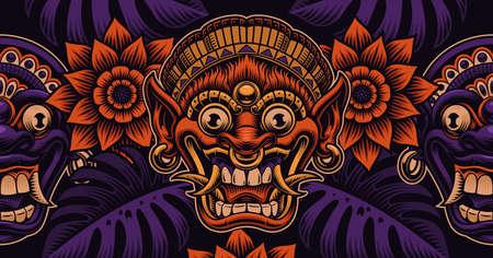 A beautiful Asian seamless pattern with traditional Bali masks 矢量图像