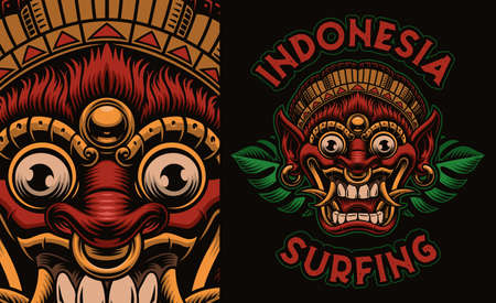 A colorful vector illustration of a traditional Bali Mask