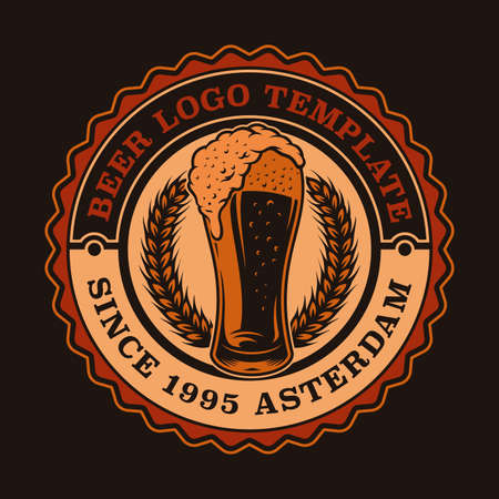 A colorful vintage beer emblem with a glass of beer.