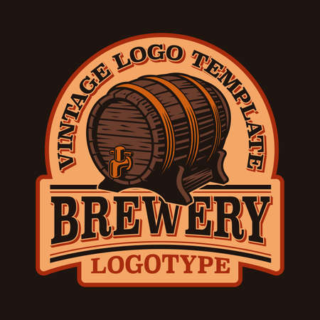 A vintage emblem for a beer theme with a beautiful beer barrel. 矢量图像